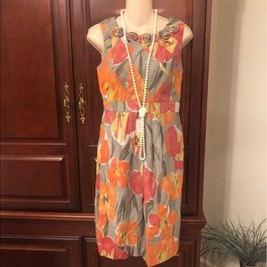 Adrianna Papell Dress Orange Gray Floral Sheath